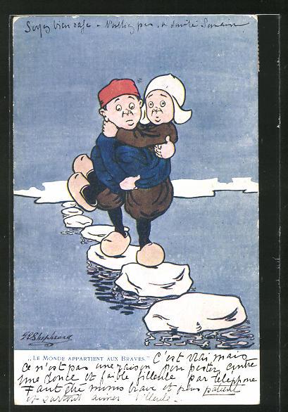 Künstler-AK George Edward Shepheard: Le Monde appatient aux braves, Mann trägt seine Liebste übers Meer