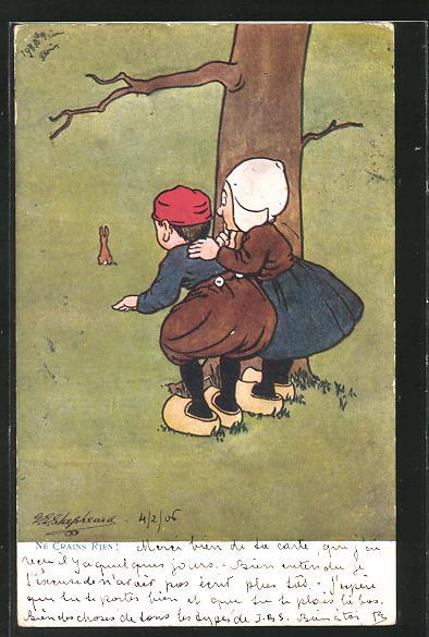Künstler-AK George Edward Shepheard: Ne Crains Rien, Mann und Frau betrachten Haasen