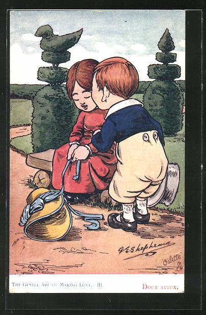 Künstler-AK George Edward Shepheard: The Gentle Art of Making Love, Junge küsst seine Liebste