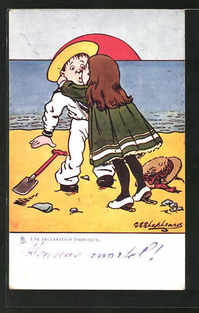 Künstler-AK George Edward Shepheard: Une Déclaration Énergique, Frau küsst ihren Liebsten am Strand