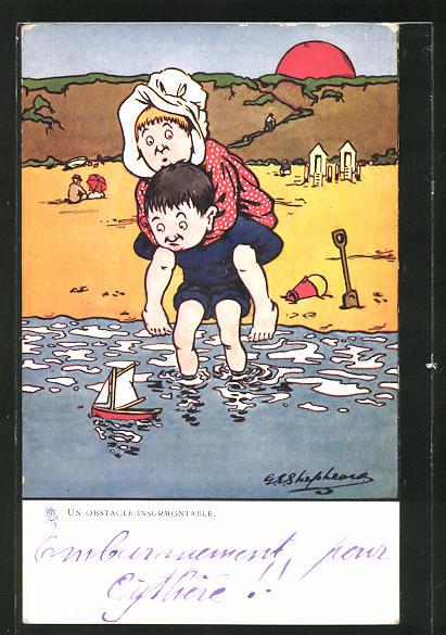Künstler-AK George Edward Shepheard: Un Obstacle Insurmontable, Mann trägt seine Frau am Strand