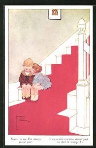 Künstler-AK Lawson Wood: Seems to me I've always loved you, junges Liebespaar auf der Treppe