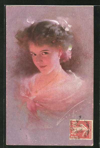 Künstler-AK Ludwig Knoefel: hübsche junge Frau mit rosa Teint