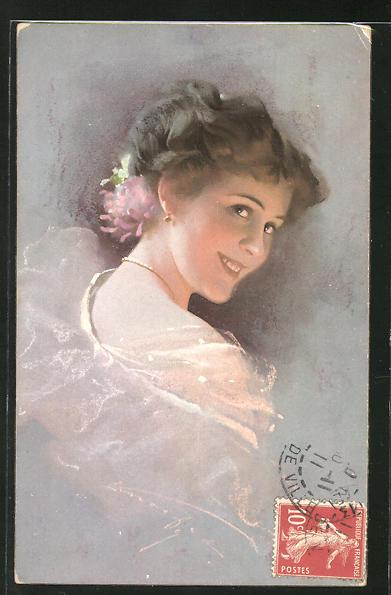 Künstler-AK Ludwig Knoefel: junge Frau lächelt glücklich