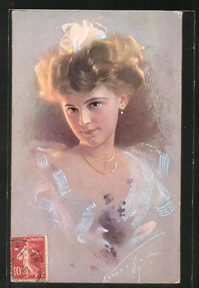 Künstler-AK Ludwig Knoefel: Portrait hübsche Frau mit blondem Haar