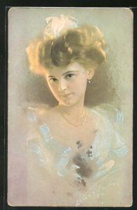 Künstler-AK Ludwig Knoefel: junge Frau mit goldenem Haar
