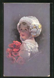 Künstler-AK Ludwig Knoefel: kleines Mädchen mit Kappe und roten Blumen