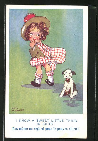 Künstler-AK Agnes Richardson: I know a sweet little thing in Kilts, Mädchen mit kariertem Kleid und kleinem Hund