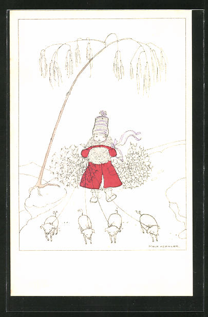 Künstler-AK Mela Köhler: Mädchen geht mit Glücksschweinen spazieren