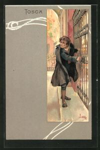 Künstler-AK Leopoldo Metlicovitz: Szene aus der Oper Tosca von Giacomo Puccini