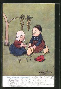 Künstler-AK George Edward Shepheard: Kleines Holländer Paar auf einer Wiese