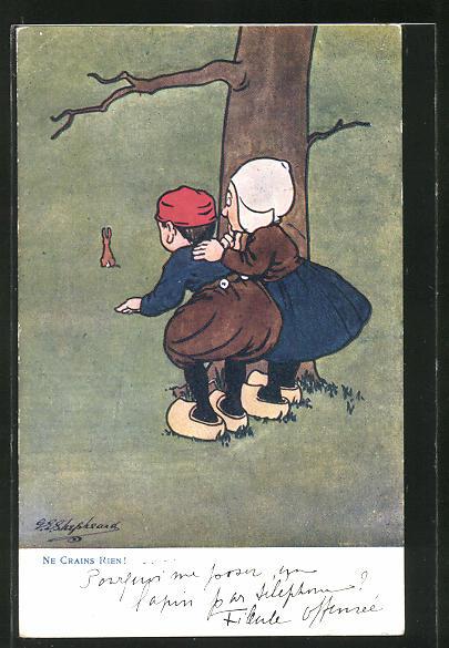 Künstler-AK George Edward Shepheard: Kleines Holländer Paar beobachtet einen Hasen