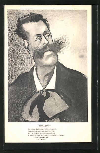 Künstler-AK Karikatur von Cassagnac, Journalist und Politiker
