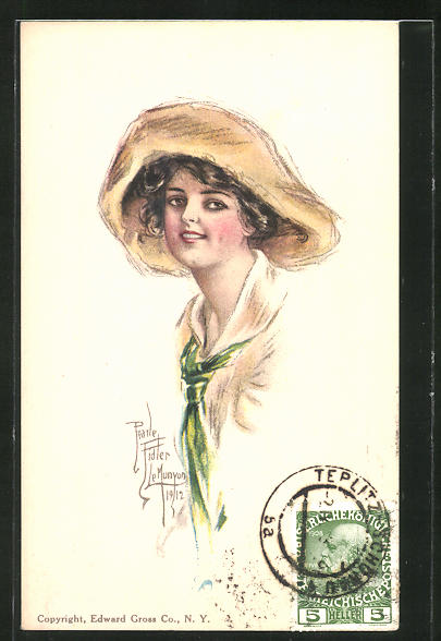 Künstler-AK Pearle Fidler LeMunyan: Junge Frau mit Hut und grünem Halstuch