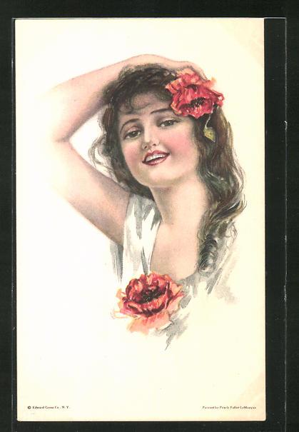 Künstler-AK Pearle Fidler LeMunyan: Schöne Brünette mit rotem Mohn im Haar