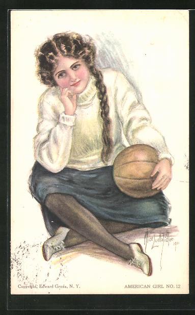 Künstler-AK Alice Luella Fidler: Amerikanisches Mädchen mit Ball