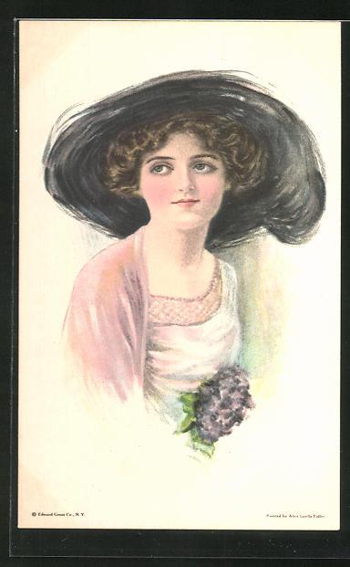Künstler-AK Alice Luella Fidler: Junge Frau mit grossem Hut und Flieder