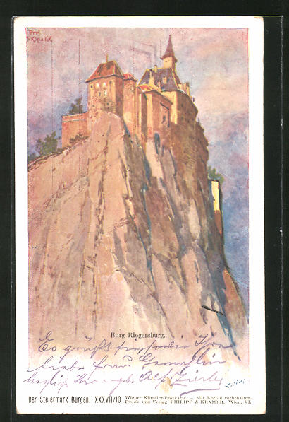 Künstler-AK Franz Kopallik, Philipp + Kramer Nr. XXXVII /10: Blick auf Burg Riegersburg