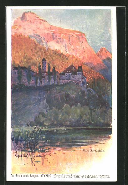 Künstler-AK Franz Kopallik, Philipp + Kramer Nr. XXXVII /9: BurgFriedstein im Abendlicht