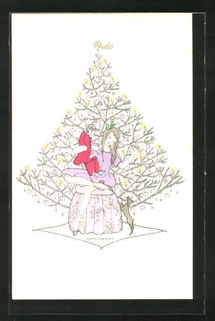 Künstler-AK Mela Köhler: Mädchen mit Puppe und kleinem Hund unterm Weihnachtsbaum