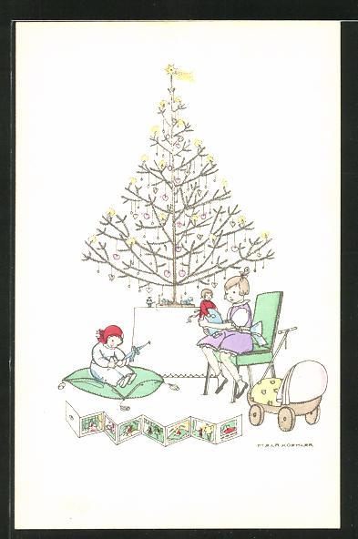 Künstler-AK Mela Köhler: Kinder spielen mit ihren Geschenken unterm Weihnachtsbaum