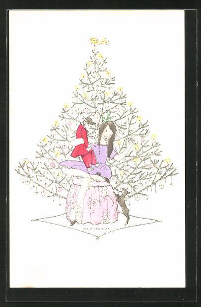 Künstler-AK Mela Köhler: Mädchen unterm Christbaum mit Puppe und Hündchen