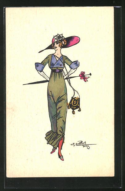 Künstler-AK Charles Naillod: Elegante Dame mit Hut, Schirm und Handtasche