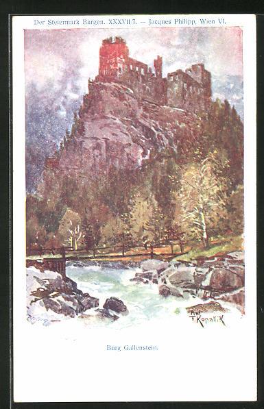 Künstler-AK Franz Kopallik: Philipp + Kramer Nr. XXXVII /7: Der Steiermark Burgen, Burg Gallenstein