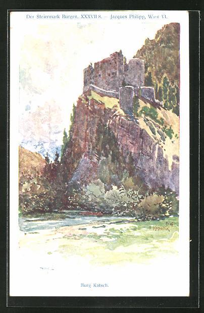 Künstler-AK Franz Kopallik: Philipp + Kramer Nr. XXXVII /8: Der Steiermark Burgen, Burg Katsch
