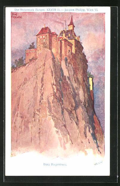 Künstler-AK Franz Kopallik: Philipp + Kramer Nr. XXXVII /10: Der Steiermark Burgen, Burg Riegersburg