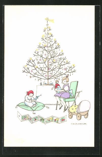 Künstler-AK Mela Köhler: Mädchen mit Puppe und Spielzeug unterm Weihnachtsbaum