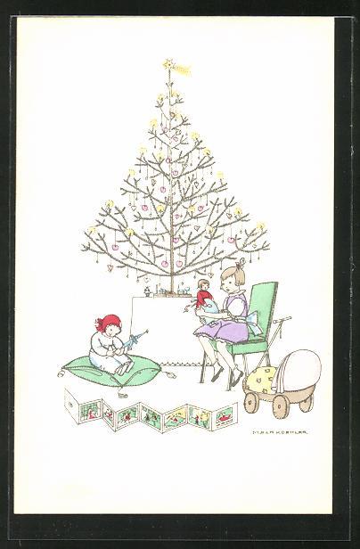 Künstler-AK Mela Köhler: Mädchen mit Puppe und Puppenwagen unterm Weihnachtsbaum