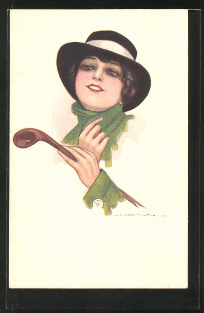 Künstler-AK Nanni: Elegante Dame mit Stock und Hut