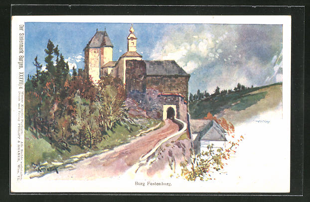 Künstler-AK Franz Kopallik: Philipp + Kramer Nr. XXXVII /4: Burg Festenburg