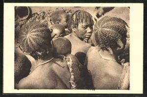 AK Oubangui Chari, Coiffures, Afrikaner mit traditionellen Frisuren