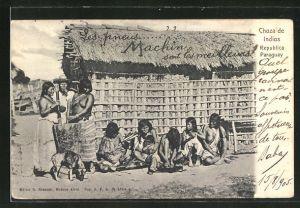 AK Paraguay, Indios in ihrem Dorf