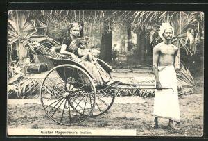 AK Gustav Hagenbeck's Indien, Rikscha mit Passagieren