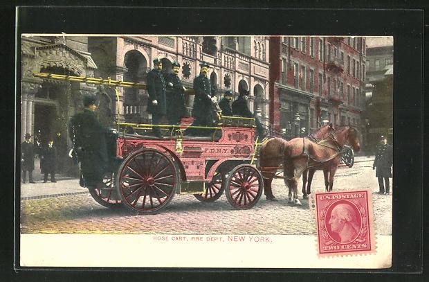 AK New York, NY, Hose Cart, Fire Department, Feuerwehr