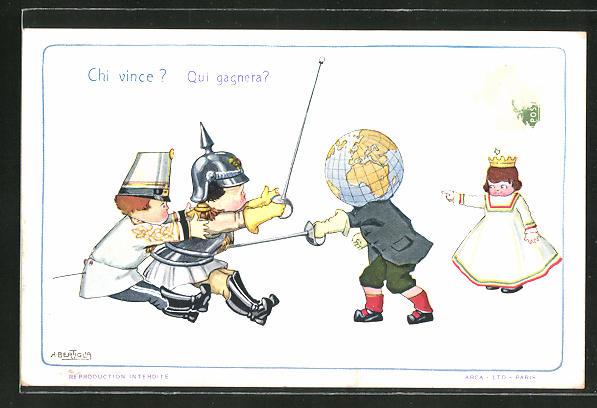 Künstler-AK A. Bertiglia: Kinder als Soldaten gekleidet fechten mit einem Jungen mit Globus-Kopf,