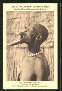AK Zentralafrikanische Republik, Behinderte Frau mit entstelltem Gesicht