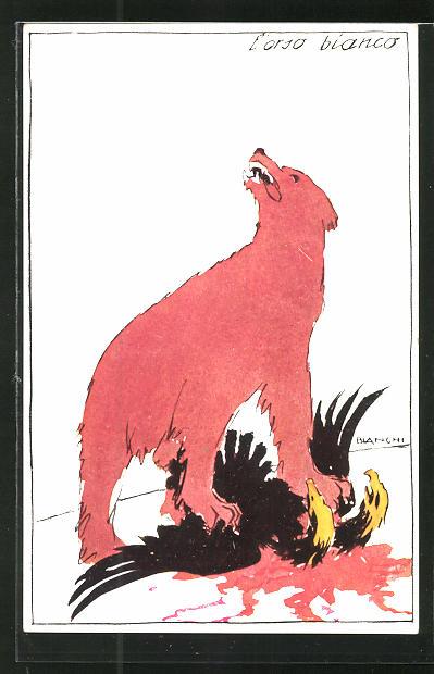 Künstler-AK Bianchi: Der rote Bär überwältigt den Adler, Propaganda Entente