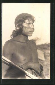 AK Paraguay, Indianer mit auffälligem Ohrschmuck