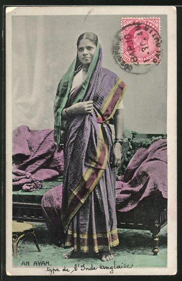 AK An Ayah, Indische Frau in Tracht