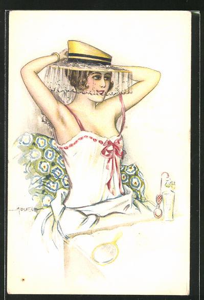 Künstler-AK A. Bertiglia: Dame in Unterwäsche mit Hut im Bett