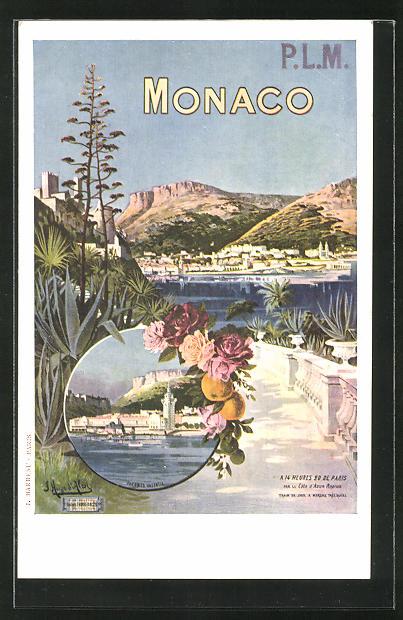 Künstler-AK Monaco, Panorama, Reklame Tourismus