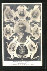 Künstler-AK Charles Denizard (Orens): Republique Francaise, les Presidents A. Fallieres elu le 17 Janvier 1906