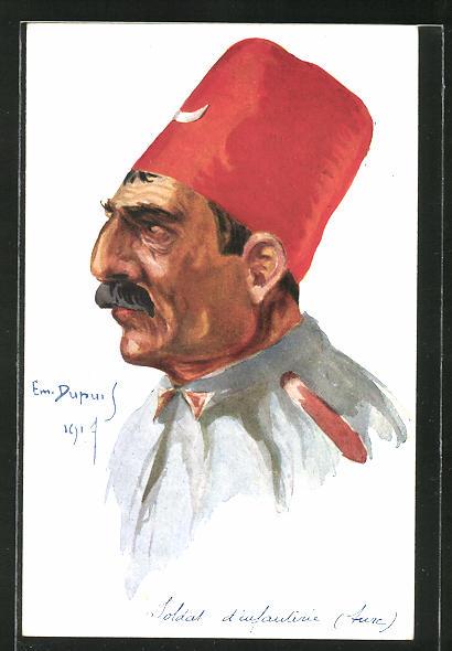 Künstler-AK Em. Dupuis: Leurs Caboches, Soldat d'infanterie turc, türkischer Soldat 1914