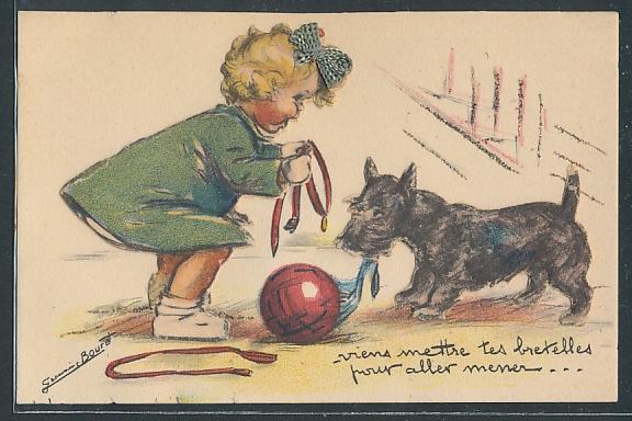 Künstler-AK Germaine Bouret: Mädchen versucht ihrem ballverrückten Hund das Halsband umzulegen