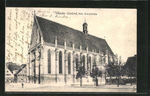 AK Schwäb. Gmünd, Strassenpartie mit Heil. Kreuzkirche