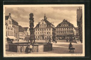 AK Schwäb. Gmünd, Marktplatz mit Springbrunnen